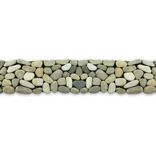 "<strong>Solistone</strong> Decorative Pebbles 39"" x 4"" Interlocking Border Tile in Turquoise"