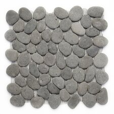 "Decorative Pebbles 12"" x 12"" Interlocking Mesh Tile in River Gray"