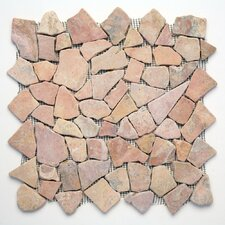 "Decorative Pebbles 12"" x 12"" Interlocking Mesh Tile in Sumatra Red"