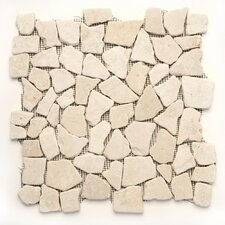 "Decorative Pebbles 12"" x 12"" Interlocking Mesh Tile in Jakarta Moon"