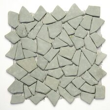 Decorative Pebbles Random Sized Interlocking Mesh Tile in Green Gobos