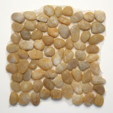Decorative Pebbles Random Sized Interlocking Mesh Tile in Honed Turkish Amber