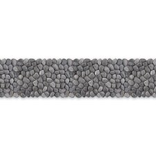 "<strong>Solistone</strong> Decorative Pebbles 39"" x 4"" Interlocking Border Tile in Honed Black Sea"