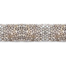 "Decorative Pebbles 39"" x 4"" Interlocking Border Tile in White Onyx Miniature"