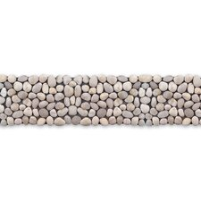 "Decorative Pebbles 39"" x 4"" Interlocking Border Tile in Honed White Onyx"