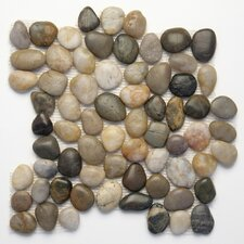 "Decorative Pebbles 12"" x 12"" Interlocking Mesh Tile in Rumi"