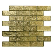 "Folia 12"" x 12"" Glass Interlocking Mesh Tile in Golden Willow"