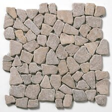 Decorative Pebbles Random Sized Interlocking Mesh Tile in Bromo Brown