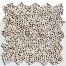 Decorative Pebbles Random Sized Interlocking Mesh Tile in Playa Beige