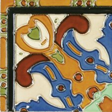 "<strong>Solistone</strong> Mission 6"" x 6"" Hand-Painted Ceramic Decorative Tile in Figuras"