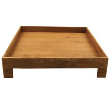 "Reclaimed Wood 18"" Footed Square Serving Tray"
