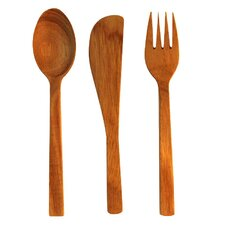3 Piece Small Teak Flatware Set