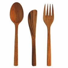 3 Piece Large Teak Flatware Set