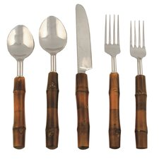 5 Piece Bamboo Flatware Set