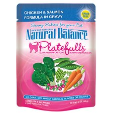 Platefulls Chicken and Salmon Formula Pouches Cat Food in Gravy - 3 oz.