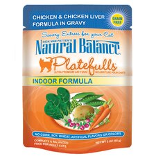 Platefulls Indoor Chicken and Liver In Gravy Cat Food Pouch (3-oz, case of 24)
