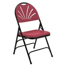 Burgundy Plastic Polyfold Fan Triple Braced Folding Chair