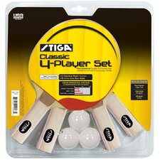 Classic 4-Player Table Tennis Racket Set