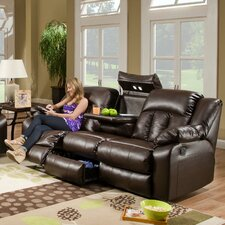 Sebring Leather Double Motion Console Loveseat