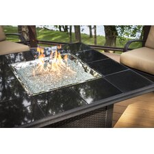 Napa Valley Crystal Fire Pit Table with Wicker Base Granite Tiles and Burner