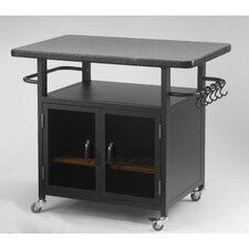 "Bistro 24"" Cabinet with 36"" Granite Top and Black Glass Doors"
