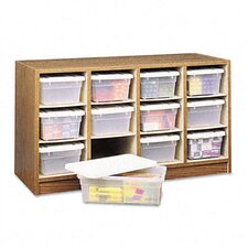 Modular Wood/Plastic 12-Bin Supplies Organizer