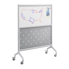 Rumba Screen Magnetic Whiteboard with Perforated Steel Panel in Gray