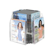 Safco Clear Magazine Table Display with 8 Pockets (2-Tier Square)