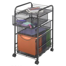 Mesh Mobile File Cart in Black