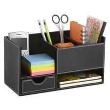 <strong>Safco Products Company</strong> Leather Look Desktop Supply Organizer