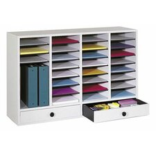 Large Wood Adjustable-Compartment Literature Organizer with Drawers