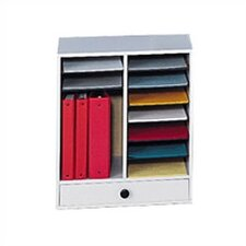 Small Wood Adjustable-Compartment Literature Organizer with Drawers