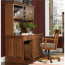 Seville Square Large Computer Desk with Hutch and Optional Chair
