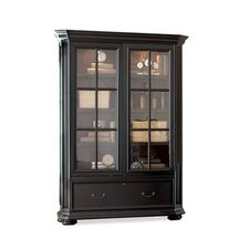 Allegro Sliding Door Bookcase in Burnished Cherry and Rubbed Black