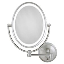 Cordless Dual LED Lighted Oval Wall Mount Mirror with 1X and 10X Magnification