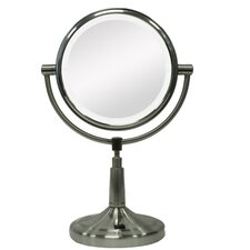 Vanity Mirror with LED Surround Light in Satin Nickel