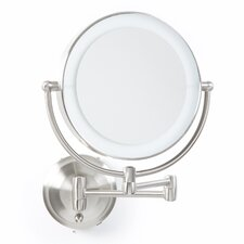 Round Wall Mounted Mirror with LED Surround Light in Satin Nickel