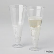 Crosshatch Champagne Flute Glass (Set of 2)