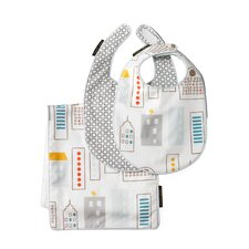 Skyline Light Blue Bib/Burp Set