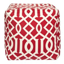 Trellis Venetian Red Outdoor Pouf