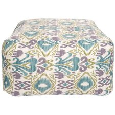 Ikat Peacock Outdoor Pouf