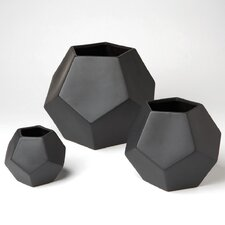 Faceted Vase in Black