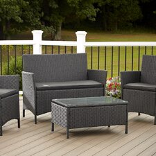 Jamaica Resin Wicker Convo 4 Piece Deep Seating Group with Cushion