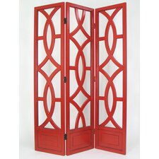 Geometric Emblem Room Divider in Red