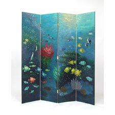 "64"" x 72"" Tropical Fish 4 Panel Room Divider"