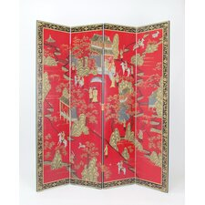 "72"" x 64"" Asian Floor 4 Panel Room Divider"