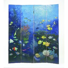 "<strong>Wayborn</strong> 64"" x 72"" Tropical Fish 4 Panel Room Divider"