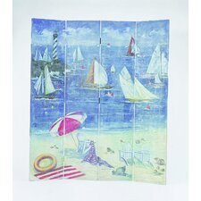 "<strong>Wayborn</strong> 64"" x 72"" Boat Watching on the Beach 4 Panel Room Divider"