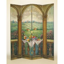 "72"" x 64"" Picnic in Tuscany 4 Panel Room Divider"