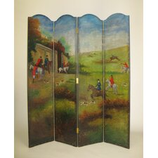 "64"" x 72"" Hunting in the English Country 4 Panel Room Divider"